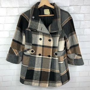 Urban Outfitters, Pins and Needles, Plaid Pea Coat